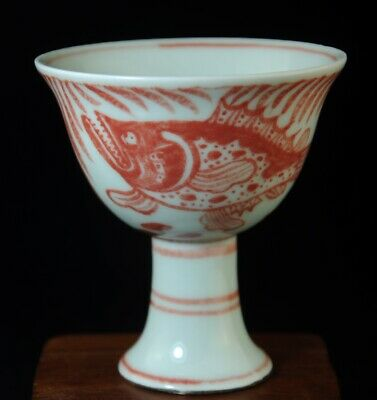china old underglaze red porcelain hand drawing fish Cup /chenghua mark b01