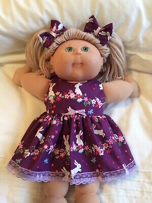 """DOLLS CLOTHES - DRESS & BOWS to fit 16"""" CABBAGE PATCH ~ Purple : Easter Bunnies"""