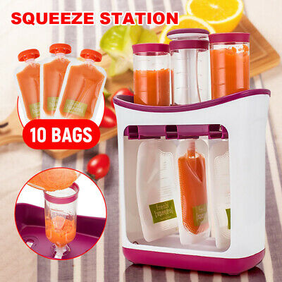 Infant Baby Feeding Food Squeeze Station Fruit Maker Dispenser Storage Kit AU