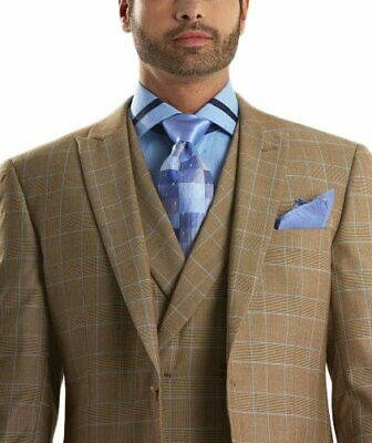 Mens 52R Steven Land Classic Fit Tan Plaid Two Button Three Piece Suit With P...