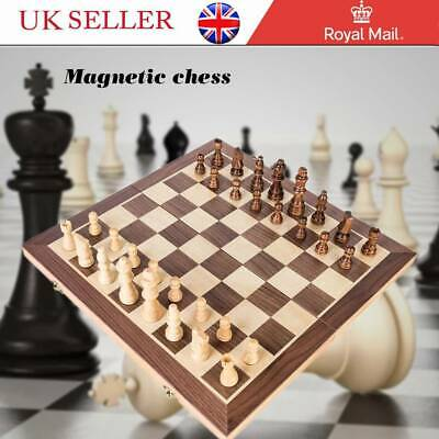 Large Chess Wooden Set Folding Chessboard Magnetic Pieces Wood Board Game UK