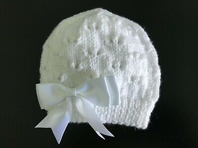 New Hand Knitted Baby Girls White Sparkle Beanie Hat with Satin Bow 0 -3 mths