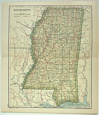Original 1891 Dated Map of Mississippi by Dodd Mead & Company. Antique