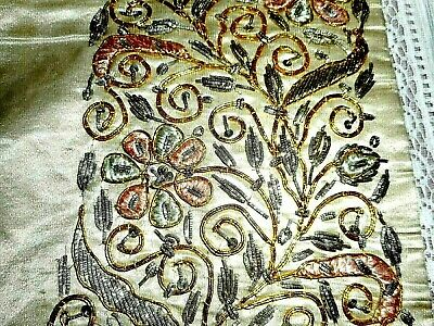 Outstanding antique silk and bullion embroidered textile