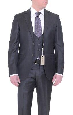 Mens 36R Canali Slim Fit 36r 46 Drop 8 Solid Charcoal Gray Two Button 3 Piece...