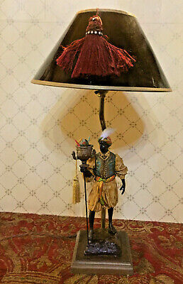 Blackamoor Lamp Golfar and Hughes With Handpainted With Black Shade