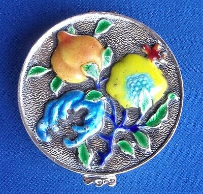 ANTIQUE CHINESE SILVER & ENAMEL PILL BOX - Peach & Fruit  - 25 gms - Marks .