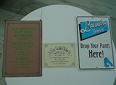 3 Funny Metal Signs Wall Plaques Jubilee Candle & Tallow Toilet Bathroom Laundry