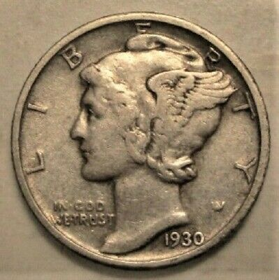 1930 P Mercury Dime circulated 90% Silver Very Fine VF to Extra Fine XF