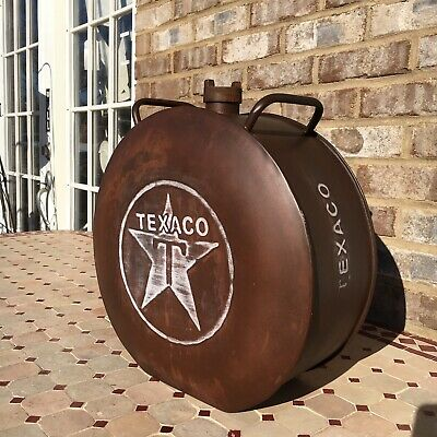 Vintage Style Round Metal Texaco Gasoline Can Oil Gas Advertising Man Cave Barn