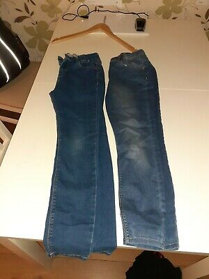 2 Pairs Of Girls Blue Jeans 10-11