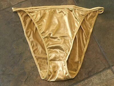 Sexy Gold SATIN 6/M Double String SHINY Second Skin Sissy RETRO Panties NWOT B