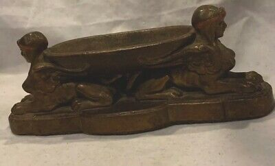 Rare Antique Art Deco Egyptian Revival Sphinx Cold Painted Incense Burner