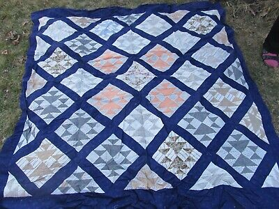 VERY BOLD, STRIKING New England 1920 ANTIQUE PATCHWORK QUILT TOP, Shirting, Blue