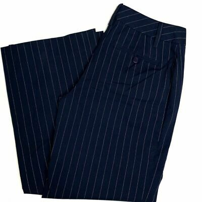 Cabi Trouser Pants Navy Blue Pinstriped Women's Size 0 Career Cotton Spandex
