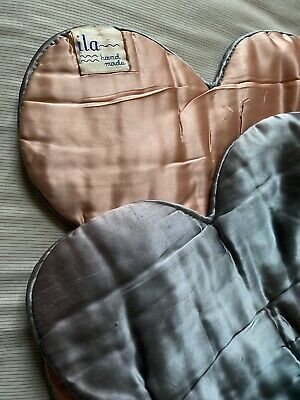 Vintage ILA Satiny Handmade Peach/Gray Hollywood Glam Coverlet 154 x 70