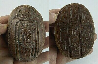RARE ANCIENT EGYPTIAN ANTIQUE SCARAB Carved Stone 1798-1569 BC (2)
