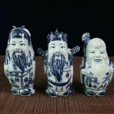 Chinese Old blue white porcelain Handmade Three Lucky immortal statue /Wf01