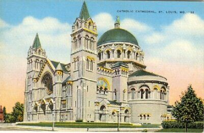 Catholic Cathedral St. Louis, Mo. Linen Postcard Unposted