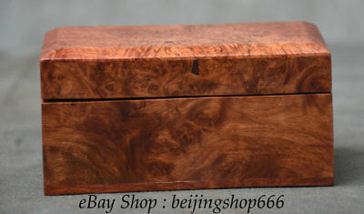 """5"""" Old Chinese Huali Pear Wood Hand-Carved Dynasty palace storage Jewelry box"""