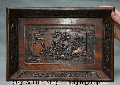 "13.6"" Old Chinese Huanghuali Wood Hand Carved Flower Bird landscape Plate Tray"