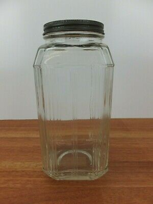 Vintage Art Deco Style Depression GLASS JAR with Metal Lid