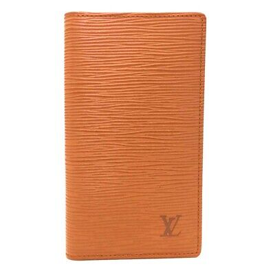 Authentic Louis Vuitton Epi Agenda Poche Brown Leather Notebook Cover /o424