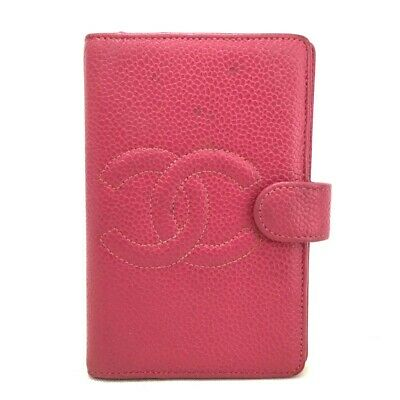 Authentic CHANEL CC Logo Pink Caviar Skin Agenda Notebook Cover /o443