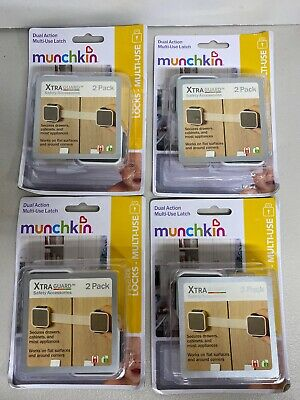 Lot Of (4) 2-packs Munchkin Xtra Guard Dual Action Multi-Use Latches (8 Total)