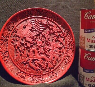 Vintage Chinese Red Cinnabar Deeply Hand Carved Plate 8 Inch