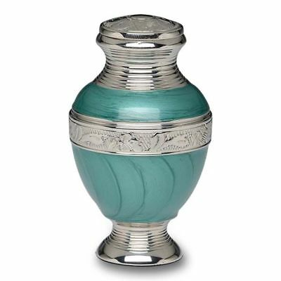 Small/Keepsake 3 Cubic Inch Green Enamel & Nickel Brass Cremation Urn