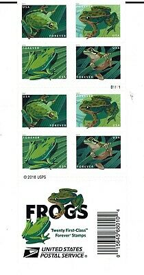 One Book Of 20 Frogs Usps First Class Forever Postage Stamps #B1111