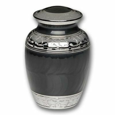 Small/Keepsake 70 Cubic Inch Black Brass Funeral Cremation Urn for Ashes
