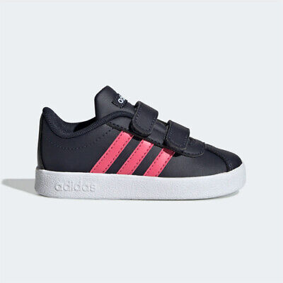 Adidas EE6907 infant toddler VL Court 2.0 CMF I baby shoes black pink kids