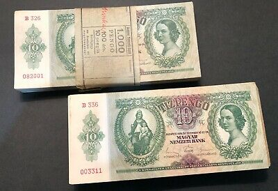 1936 HUNGARY 10 TIZ PENGO Banknote Money. Great for Collector/Investor P100.aUNC