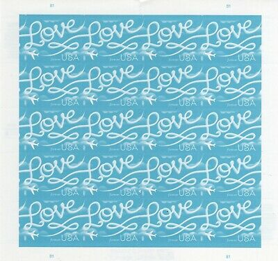 One Sheet Of 20 Love Skywriting Usps First Class Forever Postage Stamps