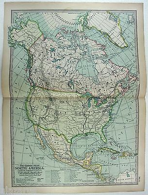 Original 1897 Map of North America by The Century Company. Antique