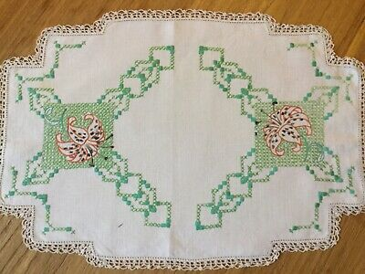 Vintage hand embroidered doily - Tiger Lilies