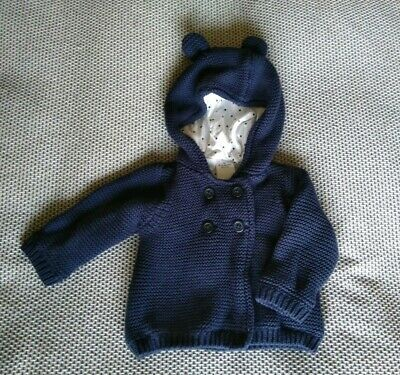 Target Baby Boy navy knit hooded Cardigan size 000