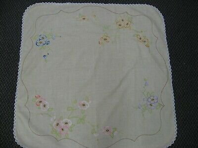 Vintage linen embroidered supper tablecloth Flower blossom multicolour crochet