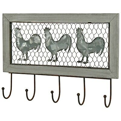 Country Style Cockerel Hen Wire Grey Metal Hall Kitchen Coat Towels 5 Hooks