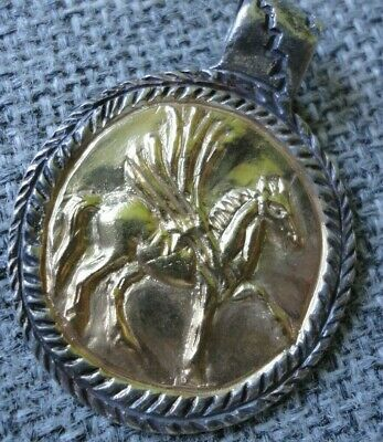 Antique Ancient Roman Legionary Senatorial Gold Silver Pendant Pegasus Very Fine