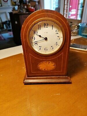 Antique Inlaid Mantel Clock Arched Top. For spares or repairs. Mechanical ref BB