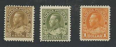 3x Canada M Admiral Stamps #118-10c MNH F #119-20c MH #122-$1.00 VF GV=$255.00