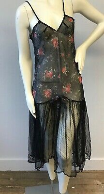 VIntage Lot of 2 Sheer 1920's Style Floral Print Slip Negligee Dress Slips USA