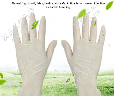 White Disposable Gloves Medical Latex Rubber Gloves Antibacterial Size S L