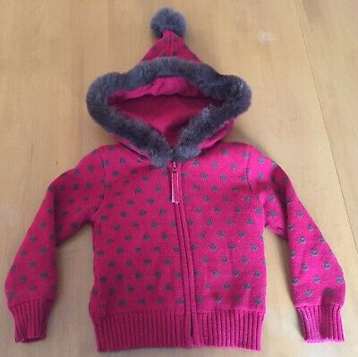 Baby Gap Holiday Sweater Girls Toddler Red Green Faux Fur Hood Size 4T