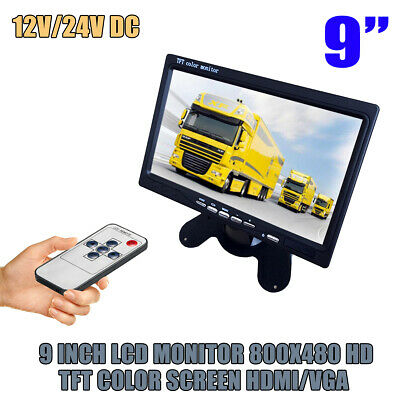 "800*480 Wired 9"" Lcd Tft Color Monitor For Car Bus Rearview Reverse Camera Uk"
