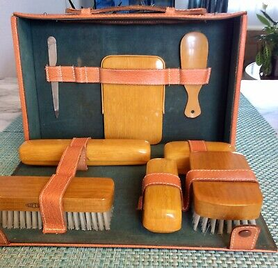 Men's Vintage Pigskin Toiletry Travel Grooming Case Kit By GIFTSET