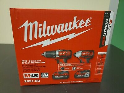 Milwaukee 2691-22 M18 18-Volt Cordless Power Lithium-Ion 2-Tool Combo Kit - NEW